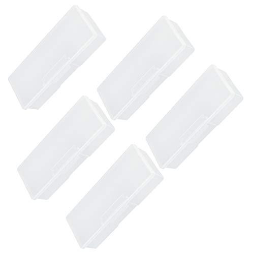 Lurrose 5Pcs Boîte de Rangement Claire Nail Art Stylos Nail Brush Container Case Manucure Nail Outils Boîte de Rangement Blanc