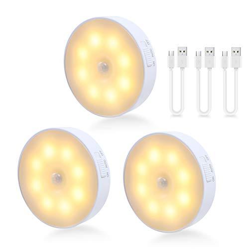 LED Nachtlicht mit Bewegungsmelder, Schrankbeleuchtung USB Beleuchtung Lampe treppenbeleuchtung Schrankleuchten Innen Batterie mit Auto/ON/Off Modi für Küche, Treppen, Flur - 3 Stück