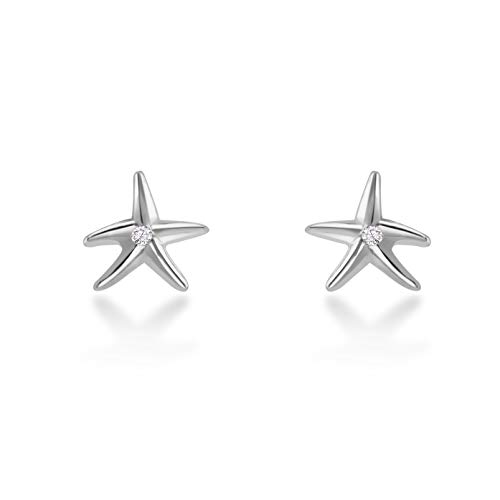 Isabella Silver LONDON Designer Jewellery 925 Sterling Silver Stud Earrings - The Holiday Collection (Star Fish Silver)