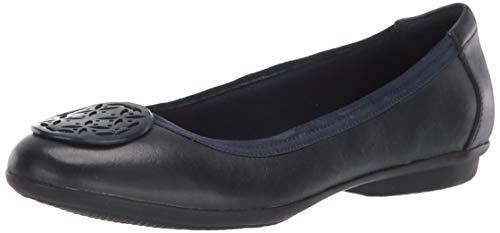 Clarks Women's Gracelin Lola Ballet Flat, Navy Leather, 055 M US