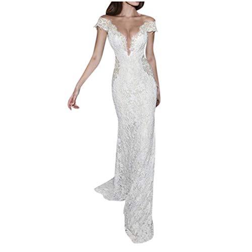 SALUCIA Damen Kleider Spitze Rückenfrei Lang Abendkleid Tief V Ausschnitt Ärmellos Maxi Cocktail Party Hochzeitskleid Brautkleid (Weiß, S)