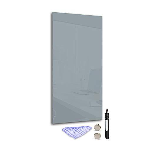 DekoGlas Magnettafel 'Grau' aus Glas 60x28cm, Memoboard inkl. Stift, Tuch & Magnet, Metall-Pinnwand für Küche & Büro