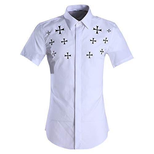 Photo of LIUXING-TUMI Mens Summer Short Sleeve Plain Shirt Lapel Collar Button Down Dress Shirt Regular Fit Cotton Print Shirt Top Casual Work Business Shirt Blouse Size M L XL XXL 3XL