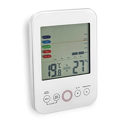 Fackelmann digitales Thermometer mit präzisem Feuchtigkeitsmessgerät & programmierbarer Schimmelwarnfunktion Tecno, inklusive Trendanzeige