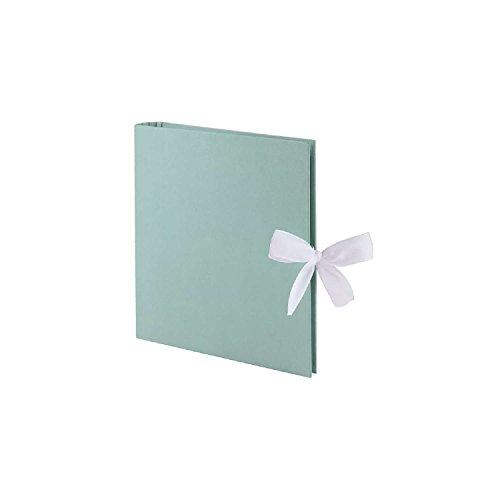 Rössler 13161153006 - Fotoringbuch, 23 x 21 cm, grün mit Schleife, 50 weiße Seiten, 25 Blatt