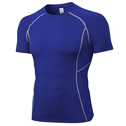 KKSY Maglietta da Corsa a Manica Corta da Uomo Nuova T-Shirt da Uomo Quick Dry Gym Fitness Running Calzamaglia Sportiva Abbigliamento Sportivo da Uomo,Blue,L