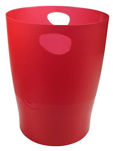 Exacompta 45324D ECOBIN Papierkorb 15 Liter mit Griffen. Eleganter und robuster Papierkorb und Mülleimer im modernen Design karminrot