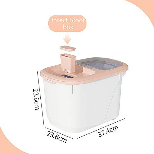 TmDo Reis Behälter, Dispenser Messbecher Food Storage Box Bins Airtight Mehl Korn-Getreide Container staubdichte Küche Organizer,Rosa