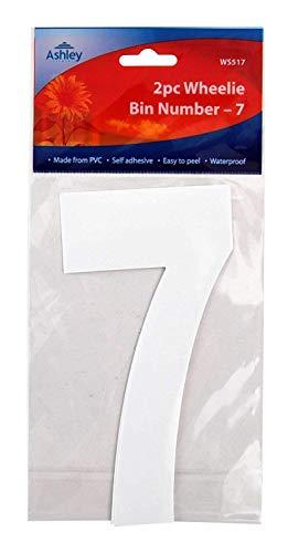 Blanc Adhésif Poubelle Sur Roues Chiffres 17cm 2/Pk - 7 (WS517) Poubelle sur Roues / Poubelle / poubelle Numéro Stickers by PinkWebShop