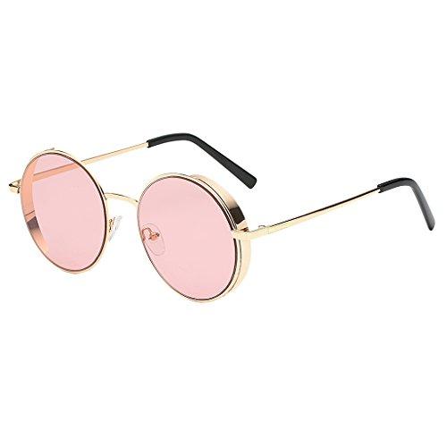 joyMerit Gafas de Sol Unisex para Hombre para Mujer, Lentes de Espejo Redondas Vintage, Gafas UV400 Hipster - Estilo 1-Rosa