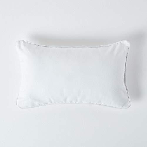 Homescapes – 100% Algodón, Lisa, Color Blanco Relleno Coj