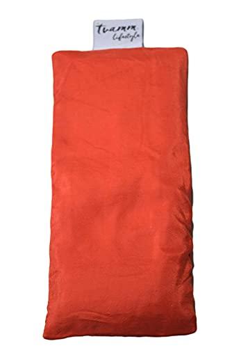 Tvamm-Lifestyle Augenkissen mit Leinsamen/Lavendel Füllung - 100% Baumwolle Stoff, 23 x 11 cm/in wunderschönen Farben erhältlich (Seide Orange)