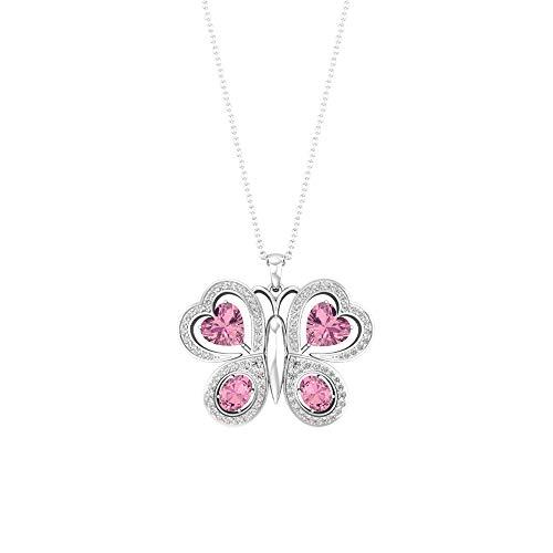 Colgante de mariposa con forma de corazón ovalado de turmalina con certificación de diamante, piedra de nacimiento de julio, collar de aniversario para niñas, boda nupcial,10K Oro blanco Sin cadena