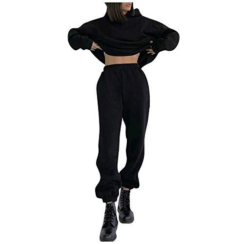 BIBOKAOKE Sportkleding voor dames, modieus outfits, sportpak, lange mouwen, capuchontrui met broek, casual trainingspak, joggingpak, effen vrijetijdspak