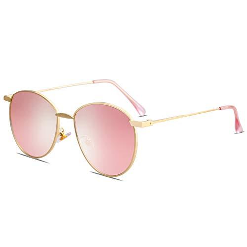 SOJOS Schick Metall Runde Sonnenbrille Damen Verspiegelt SJ1117 mit Gold Rahmen/Rosa Linse