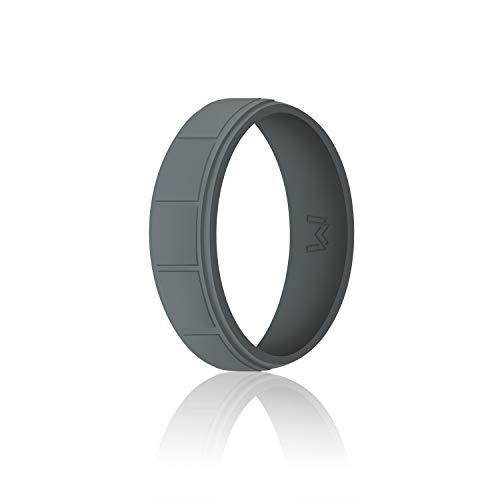 WIGERLON Mens Silicone Wedding Ring &Rubber Wedding Bands Width 8.7mm Color Dark...
