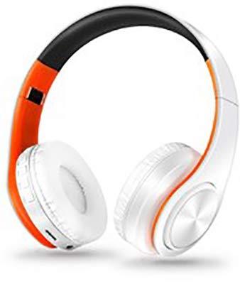 All Star Bluetooth hoofdtelefoon, draadloos, 4.0, over-ear hoofdtelefoon met 10 uur looptijd, draadloze bluetooth-hoofdtelefoon met ingebouwde microfoon, hoofdtelefoon voor tv/mobiele telefoons/pc/tablets, ergonomisch comfort, zacht (oranje)