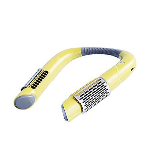 Dswe Ventilatore da Collo Mini Ventilatore USB Ricaricabile Ventilatori Sportivi Muti per la casa Ventilatori sospesi Portatili all'aperto Condizionatore d'Aria Raffreddamento - Giallo - 223x190mm