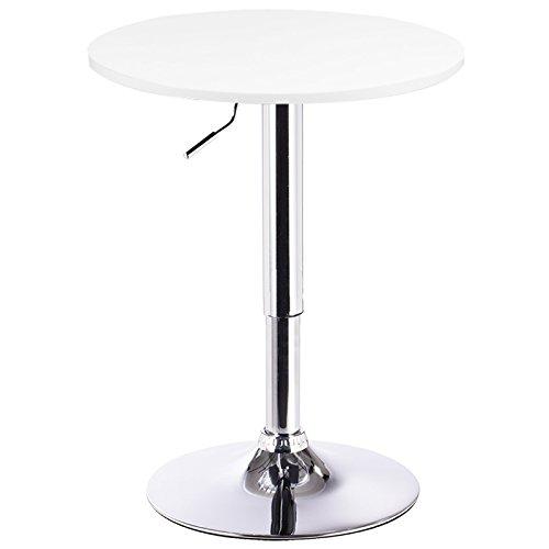 WOLTU BT02ws Table de Bar en MDF avec Pied,Table Ronde Hauteur réglable,Blanc