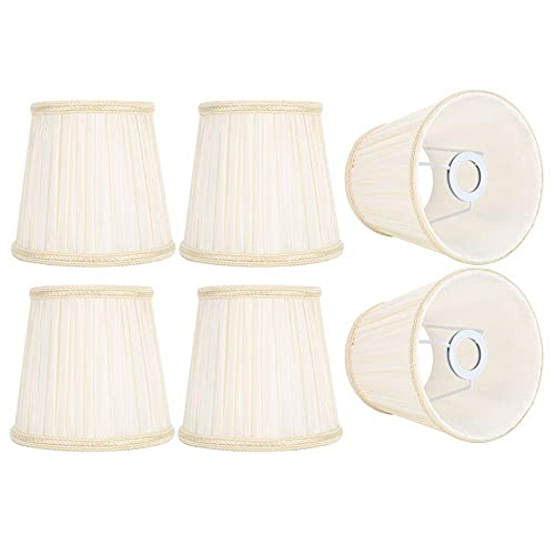HERCHR 6 Piezas Tulipas para Lamparas Reemplazo de Pantallas de Tela de Barril para lámpara de Mesa, lámpara de Pared, lámparas de pie, Beige 15x14x11 cm
