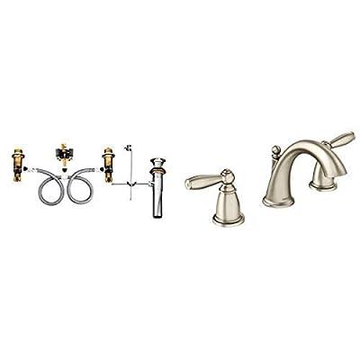Moen T6620BN-9000 Brantford Two-Handle Low Arc Bathroom Faucet with Valve, Brushed Nickel