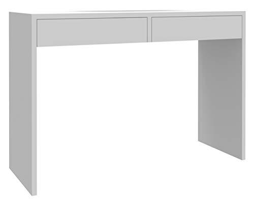 MATKAM Schreibtisch Astral H 78 x B 115 x T 40 cm, laminierte Möbelplatte, 2 Schubladen mit Metalllaufschienen auf Rollen, seitliche Wangen (Weiß)
