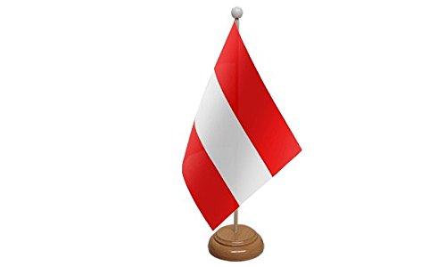 Österreich Flagge Tisch mit Holzsockel