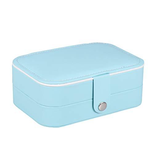 Cabilock Caja de Almacenamiento de Joyas de Doble Capa, Caja de Anillo de Cuero de PU, Caja de Anillo, Pendientes portátiles, Organizador de Pulsera con Espejo para Viajes (Azul)