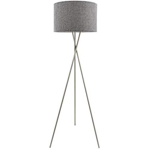 Kira Home Sadie 60' Mid Century Modern Tripod LED Floor Lamp + 9W Bulb (Energy Efficient/Eco-Friendly), Gray Drum Shade, Brushed Nickel Finish