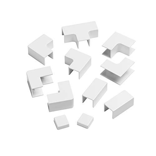 D-Line DLFSA1-AP Multipack Vierkant-Kabelhalter 16 x 16 mm (B x H) zum Verbinden mehrerer Kabelkanalprofile, 11-teiliges Kabelmanagement-Zubehör-Set – Weiß, 16x16mm Accessories