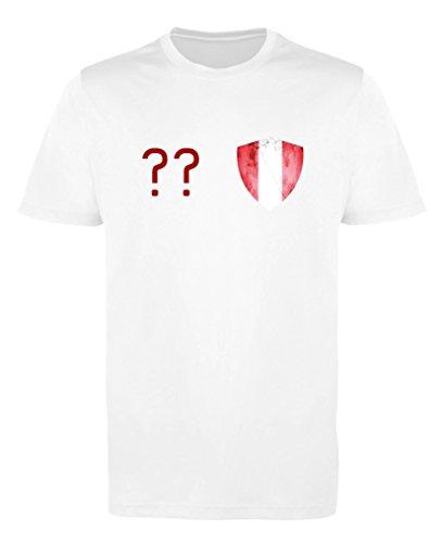 Comedy Shirts - Peru Trikot - Wappen: Klein - Wunsch - Jungen Trikot - Weiss/Rot Gr. 122-128