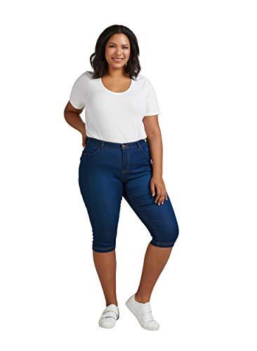 Zizzi Damen Capri Jeans 3/4 Caprihose Slim Fit Mit Stretch , Farbe: Blau, Gr. 48