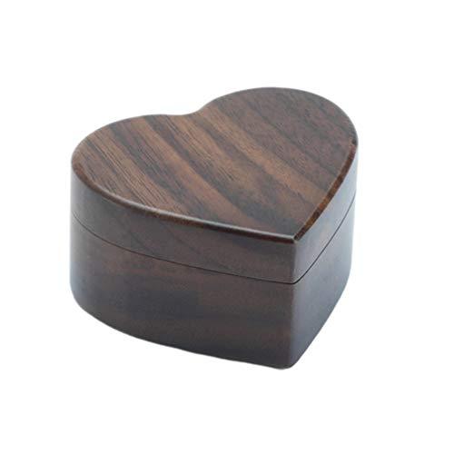 TOPBATHY zwarte walnoot houten verlovingsring doos vintage massief hout hart gevormde ring doos voor voorstel bruiloft