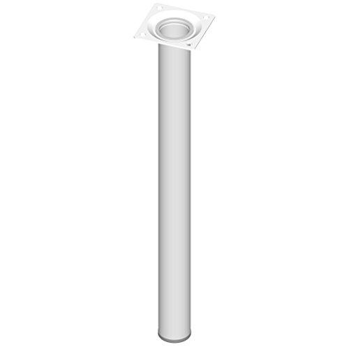 Element System 4 Stück Stahlrohrfüße rund, Tischbeine, Möbelfüße inklusive Anschraubplatte, Länge 40 cm, Durchmesser 30 mm, 4 Farben, 11 Abmessungen, weiß, 11100-00048