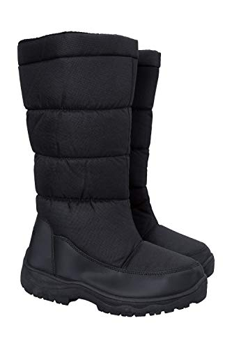 Mountain Warehouse Icey Womens Long Snow Boots - Snowproof, Insulated, Warm Snow Shoes, Cosy - Ideal for Snowboarding, Sledging in Winter Black Womens Shoe Size 6 UK