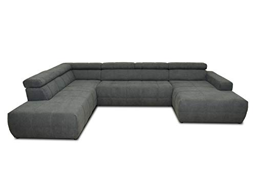 DOMO Collection Brandon Sofa | Wohnlandschaft mit Rückenfunktion in U-Form | Polsterecke Eckgarnitur | 228 x 359 x 175 cm Polstergarnitur in grau