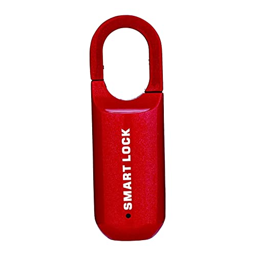 FLAMEER Candado inteligente de huella digital con IP65 biométrico sin llave resistente al agua para el equipaje de la Oficina del gimnasio sin Bluetooth - Rojo
