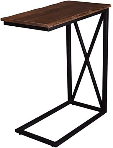 SAM Laptoptisch Granada, Akazienholz massiv + nussbaumfarben, Beistelltisch mit schwarzem Metallgestell, 46x25x67 cm