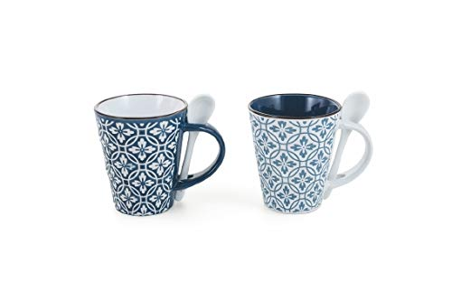 Villa d'Este Home Tivoli 2190713 Azul Light Becher mit Löffel, Keramik, mehrfarbig