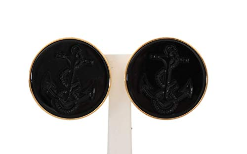 Dolce & Gabbana - - All - Gold Brass Black Anchor Clip On Accessory Earrings - Default Title
