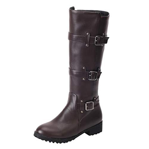 Damen Stiefel Frauen Winter Flache Stiefel Mittlere Waden Schnalle Reißverschluss Wildleder Stiefel(41 EU,Braun)