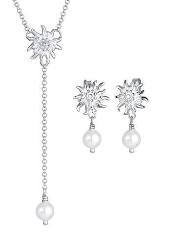 Elli Schmuckset Damen 2er Schmuckset Wiesn Edelweiss Perle aus 925 Sterling Silber