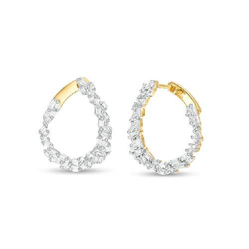 Ani's Pendientes de aro T.W. Baguette Cut Clear D/VVS1 de diamante para niñas en plata 925 chapada en oro amarillo de 14 quilates