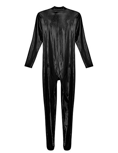 inhzoy Mens Stretchy Patent Leather Short Sleeves Zipper Crotch Full Body Leotard Bodysuit
