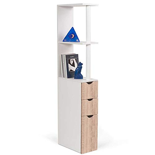 IDMarket - Meuble WC étagère WILLY bois 3 portes coloris hêtre gain de place pour toilettes