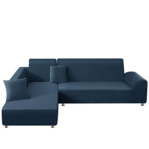 TAOCOCO Funda para sofá en Forma de L Funda elástica elástica 2 Juegos para 3 Asientos + 3 Asientos, con Funda de cojín de 2 Piezas (Azul Verdoso)