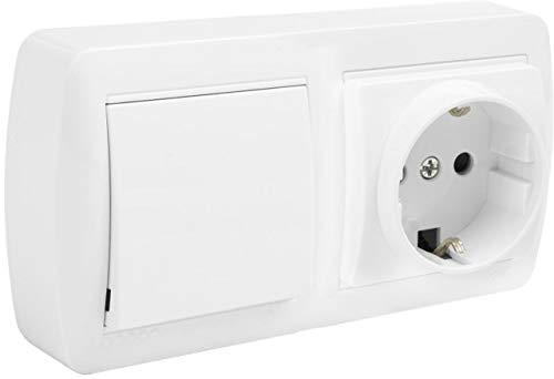 Base fija 2P+T 16A 250V + conmutador/interruptor 10AX 250V 148x72x28mm blanco SOLERA MUR63U