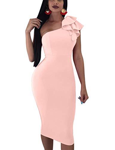 Mokoru Women's Sexy Ruffle One Shoulder Sleeveless Bodycon Party Club Midi Dress, XX-Large, Nude Pink