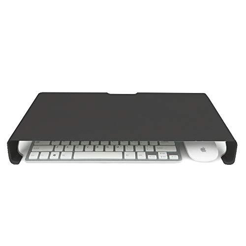 QUVIO Laptop verhoger aluminium/Laptopstandaard/Mogelijkheid voor opbergen toetsenbord en muis/Ergonomisch werken - Zwart