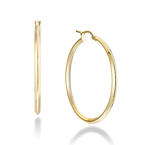 Miabella 18K Gold Over 925 Sterling Silver 2.5mm High Polished Knife Edge Hoop Earrings for Women Teen Girls 15mm, 20mm, 30mm, 40mm, 50mm Lightweight Earrings Made in Italy (40mm (1 5/8 Inch))